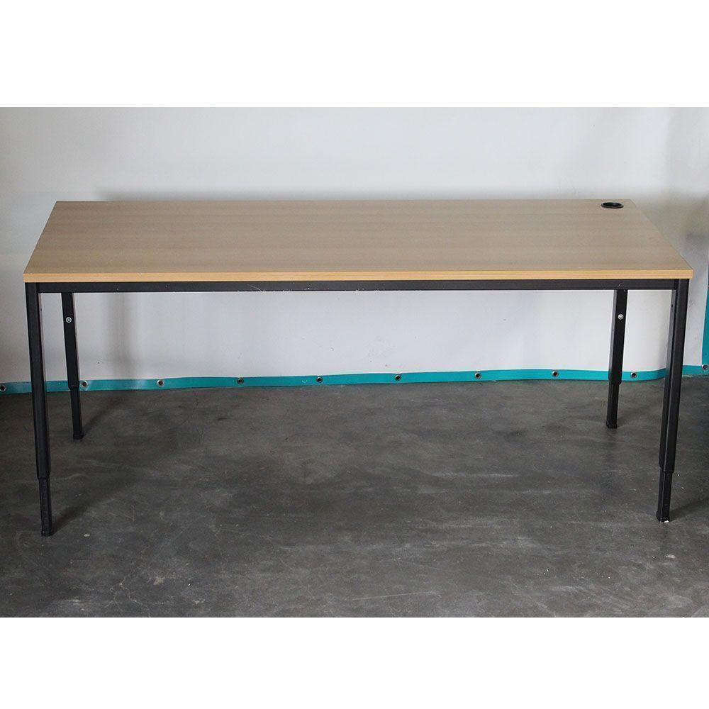 Instelbaar bureau zwart 160x80 beuken