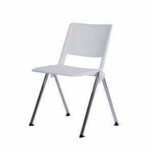 Eco Conferentiestoel Stapelbaar – Aluminium – Wit – Te Huur
