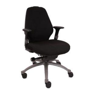 RH Bureaustoel – Tweedehands – Zwart Nieuw Gestoffeerd – Logic 300