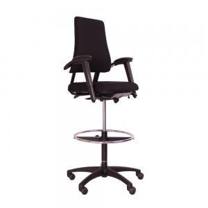 BMA Bureaustoel – Extra Hoog – Tweedehands – Zwart Nieuw Gestoffeerd – Axia Office