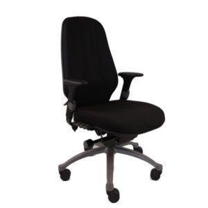 RH Bureaustoel – Tweedehands – Zwart Nieuw Gestoffeerd – Logic 400 XL